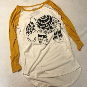 Tribal Elephant Graphic Baseball Shirt Size XS